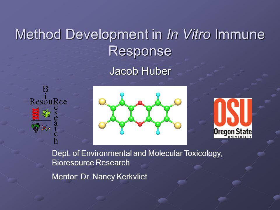 Method Development in In Vitro Immune Response Jacob Huber Dept. of Environmental and Molecular Toxicology, Bioresource Research Mentor: Dr. Nancy Ker