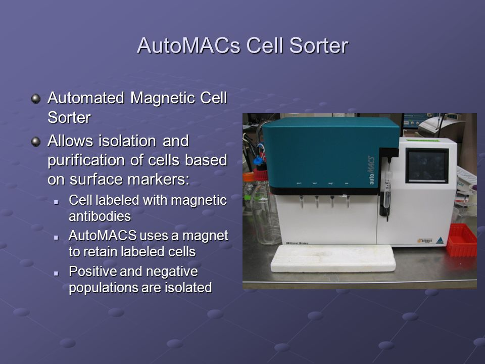 AutoMACs Cell Sorter Automated Magnetic Cell Sorter Allows isolation and purification of cells based on surface markers: Cell labeled with magnetic an