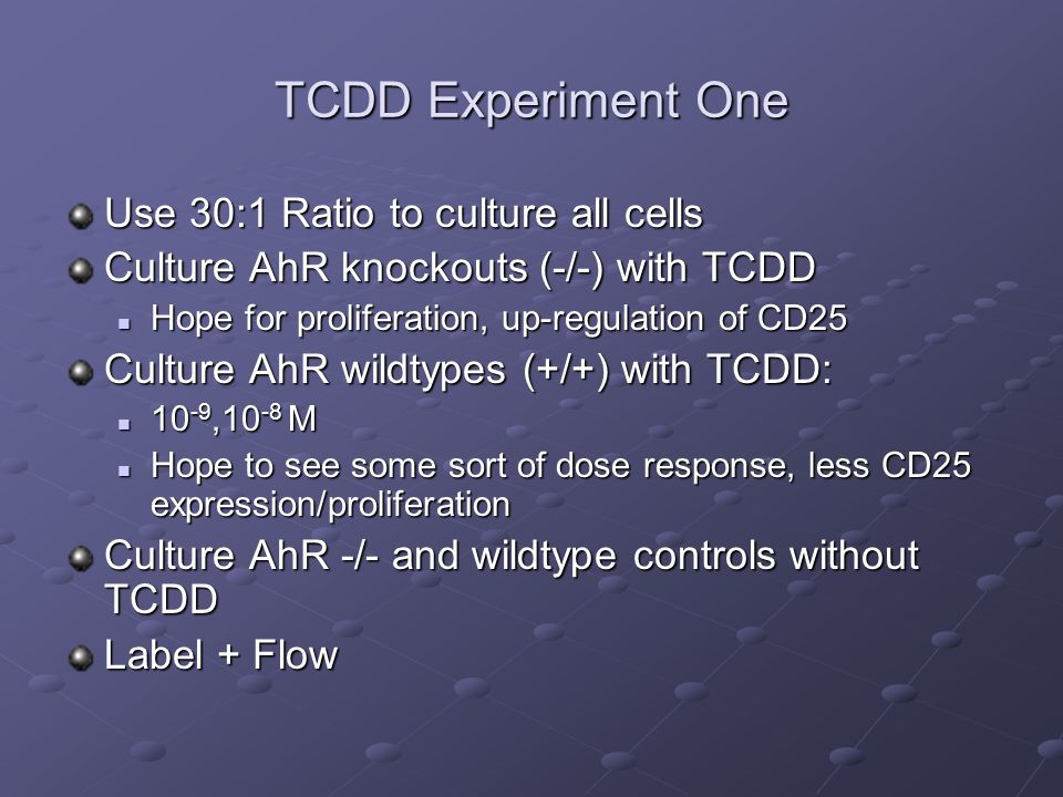 TCDD Experiment One Use 30:1 Ratio to culture all cells Culture AhR knockouts (-/-) with TCDD Hope for proliferation, up-regulation of CD25 Hope for proliferation, up-regulation of CD25 Culture AhR wildtypes (+/+) with TCDD: 10 -9,10 -8 M 10 -9,10 -8 M Hope to see some sort of dose response, less CD25 expression/proliferation Hope to see some sort of dose response, less CD25 expression/proliferation Culture AhR -/- and wildtype controls without TCDD Label + Flow