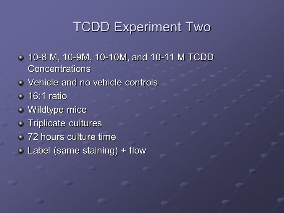 TCDD Experiment Two 10-8 M, 10-9M, 10-10M, and 10-11 M TCDD Concentrations Vehicle and no vehicle controls 16:1 ratio Wildtype mice Triplicate culture