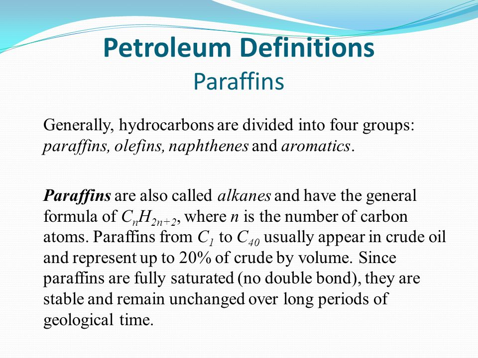 Petroleum Definitions Paraffins Generally, hydrocarbons are divided into four groups: paraffins, olefins, naphthenes and aromatics.