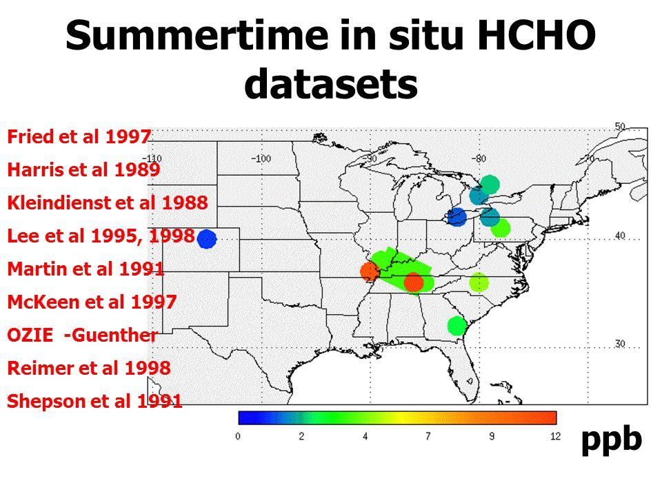 ppb Summertime in situ HCHO datasets Fried et al 1997 Harris et al 1989 Kleindienst et al 1988 Lee et al 1995, 1998 Martin et al 1991 McKeen et al 1997 OZIE -Guenther Reimer et al 1998 Shepson et al 1991