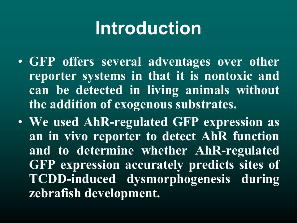 Introduction GFP offers several adventages over other reporter systems in that it is nontoxic and can be detected in living animals without the additi