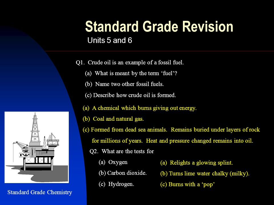 Standard Grade Revision Units 5 and 6 (a) A chemical which burns giving out energy.