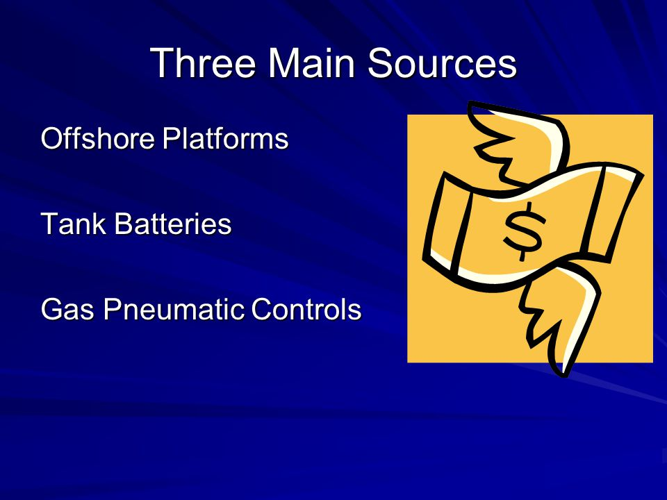 Three Main Sources Offshore Platforms Tank Batteries Gas Pneumatic Controls