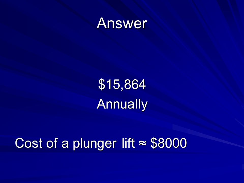 Answer $15,864Annually Cost of a plunger lift ≈ $8000