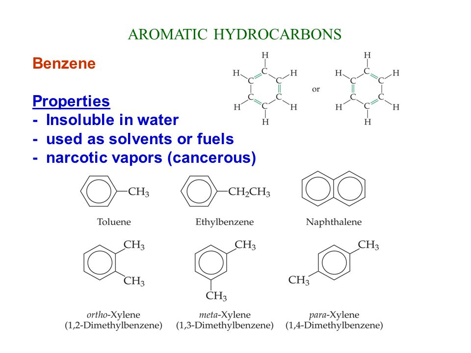 AROMATIC HYDROCARBONS Benzene Properties - Insoluble in water - used as solvents or fuels - narcotic vapors (cancerous)