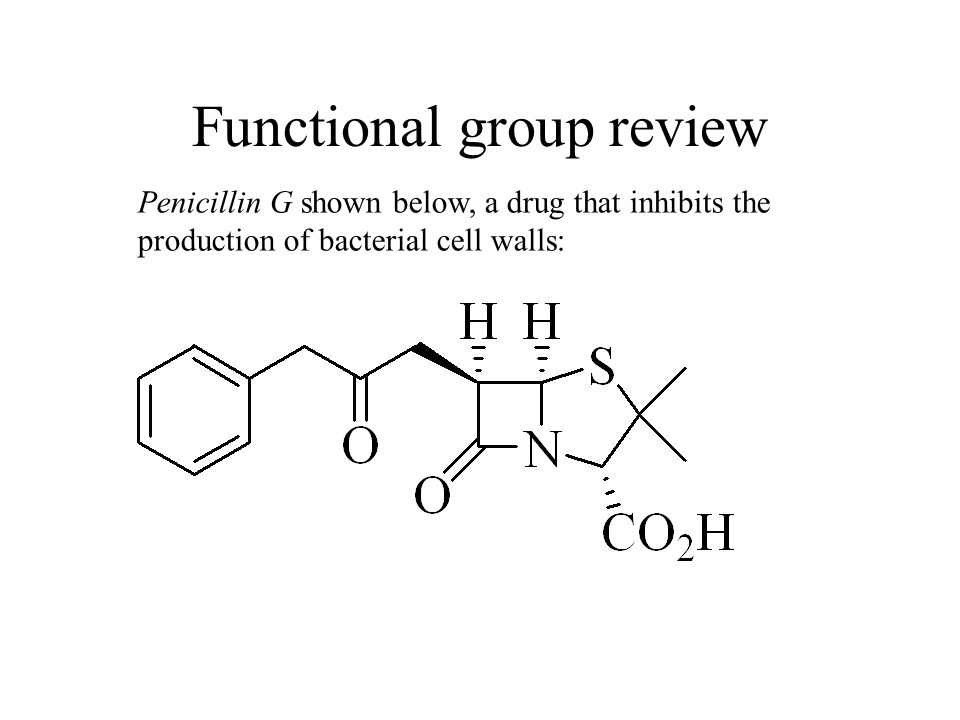 Penicillin G shown below, a drug that inhibits the production of bacterial cell walls: