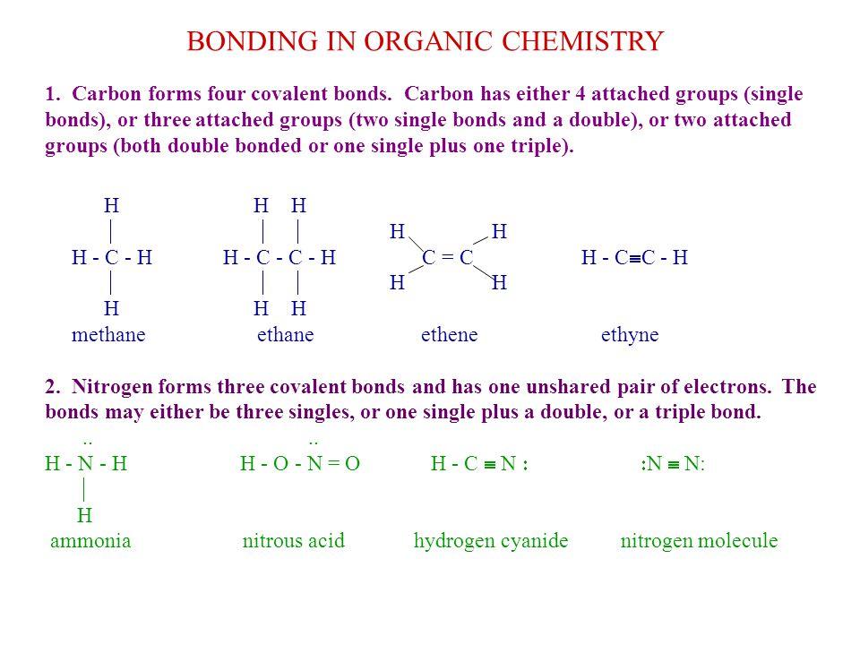 BONDING IN ORGANIC CHEMISTRY 1.Carbon forms four covalent bonds.