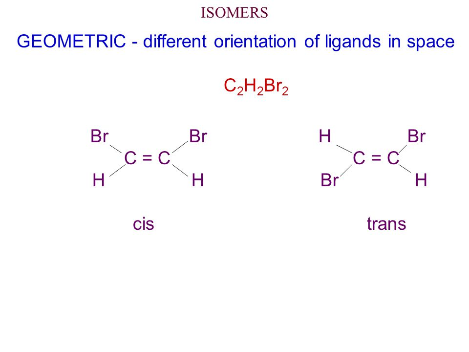 ISOMERS GEOMETRIC - different orientation of ligands in space C 2 H 2 Br 2 Br Br H Br C = C C = C H H Br H cis trans