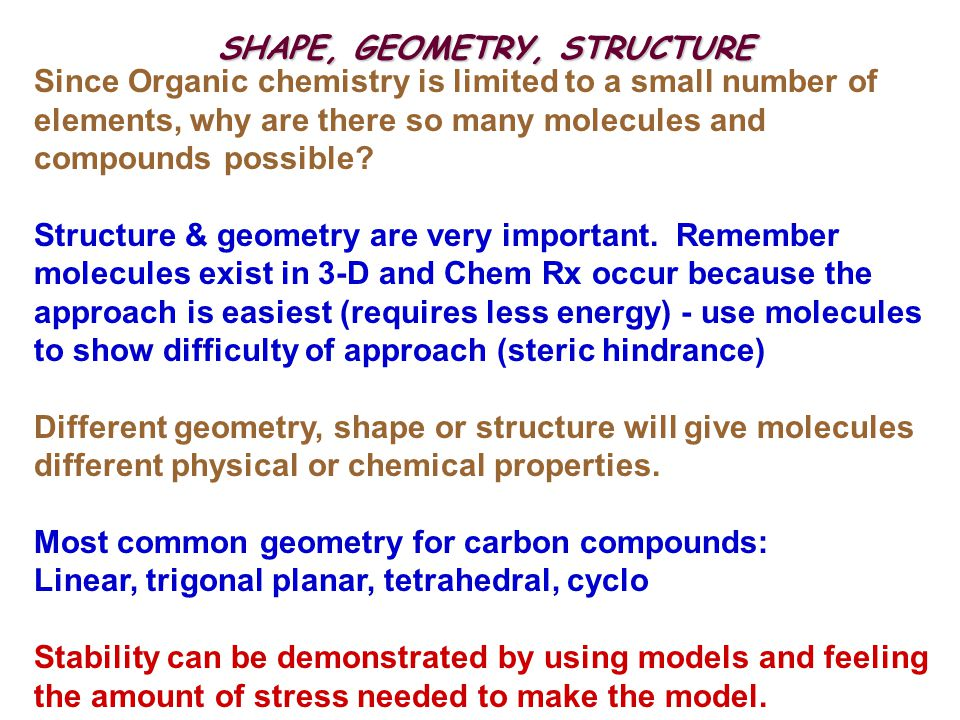 SHAPE, GEOMETRY, STRUCTURE Since Organic chemistry is limited to a small number of elements, why are there so many molecules and compounds possible? S