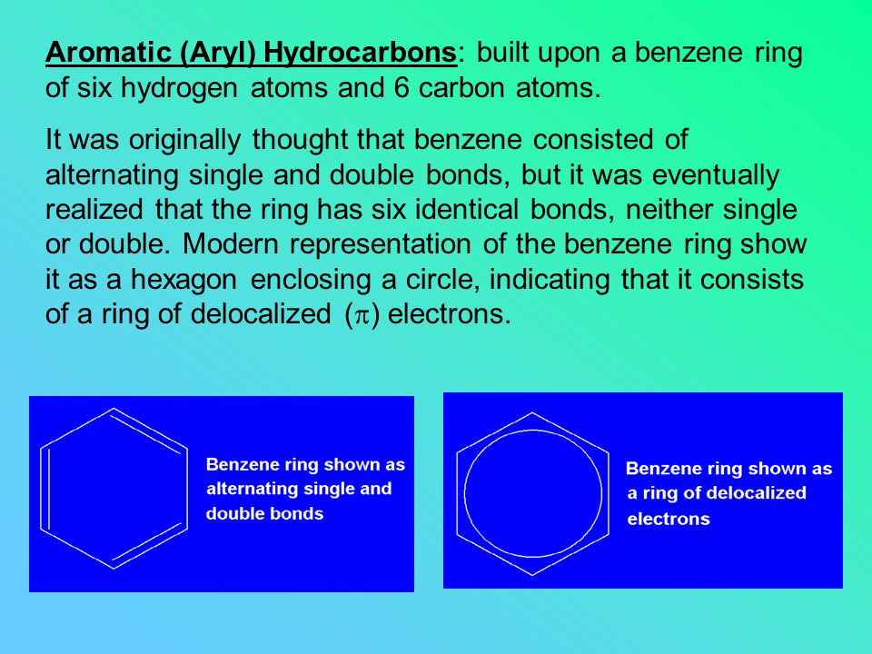 Aromatic (Aryl) Hydrocarbons: built upon a benzene ring of six hydrogen atoms and 6 carbon atoms. It was originally thought that benzene consisted of