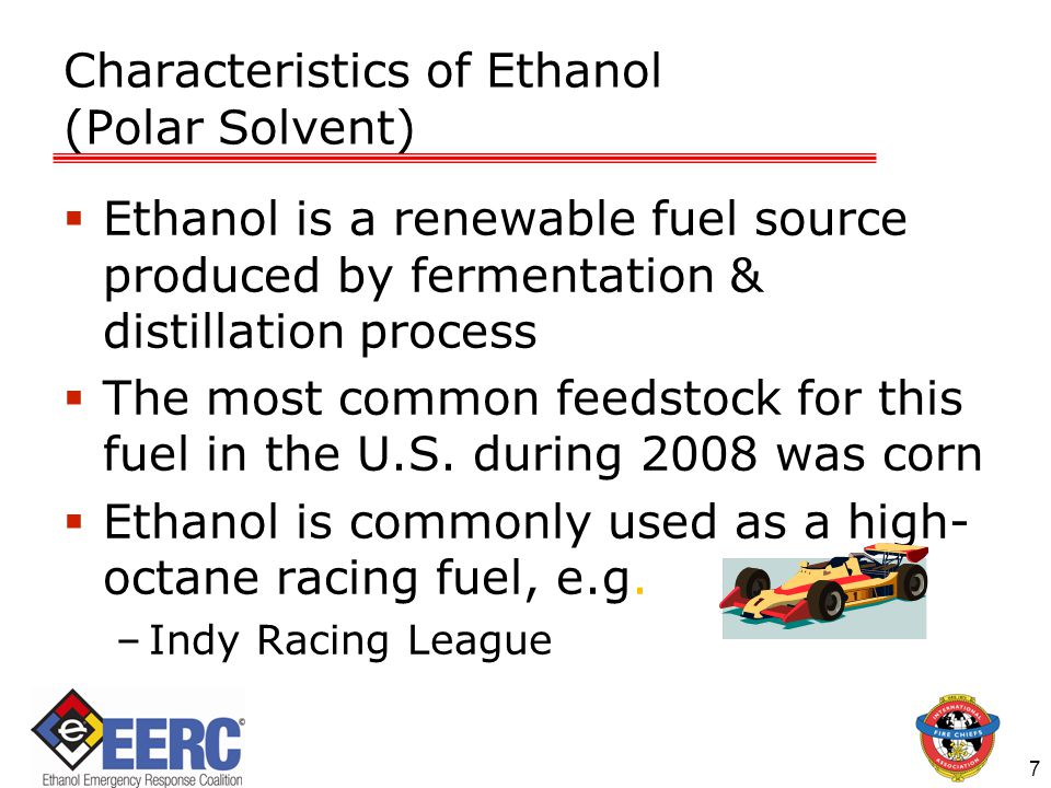 8 Characteristics of Ethanol (Polar Solvent)  Pure ethanol at ethanol production facilities exhibits the same physical and chemical properties as ethanol intended for use in motor fuels that has been denatured with up to 5% gasoline / similar hydrocarbon for transport  Denaturant has minimal effects on product handling and performance characteristics.