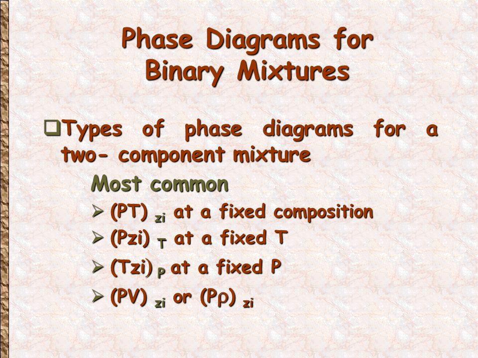 Phase Diagrams for Binary Mixtures  Types of phase diagrams for a two- component mixture Most common  (PT) zi at a fixed composition  (Pzi) T at a fixed T  (Tzi  P  at a fixed P  (PV) zi or (P  ) zi