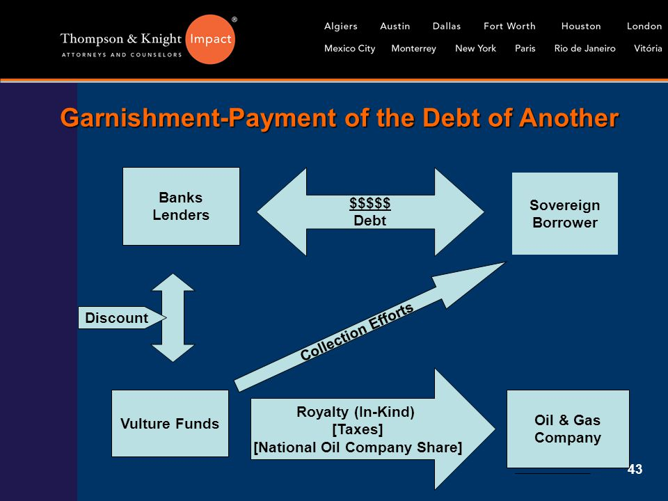 43 Garnishment-Payment of the Debt of Another Banks Lenders Sovereign Borrower $$$$$ Debt Vulture Funds Oil & Gas Company Royalty (In-Kind) [Taxes] [N