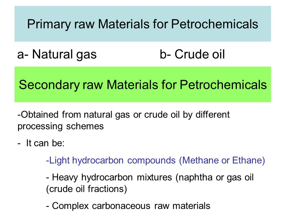 Primary raw Materials for Petrochemicals a- Natural gas b- Crude oil Secondary raw Materials for Petrochemicals -Obtained from natural gas or crude oil by different processing schemes - It can be: -Light hydrocarbon compounds (Methane or Ethane) - Heavy hydrocarbon mixtures (naphtha or gas oil (crude oil fractions) - Complex carbonaceous raw materials