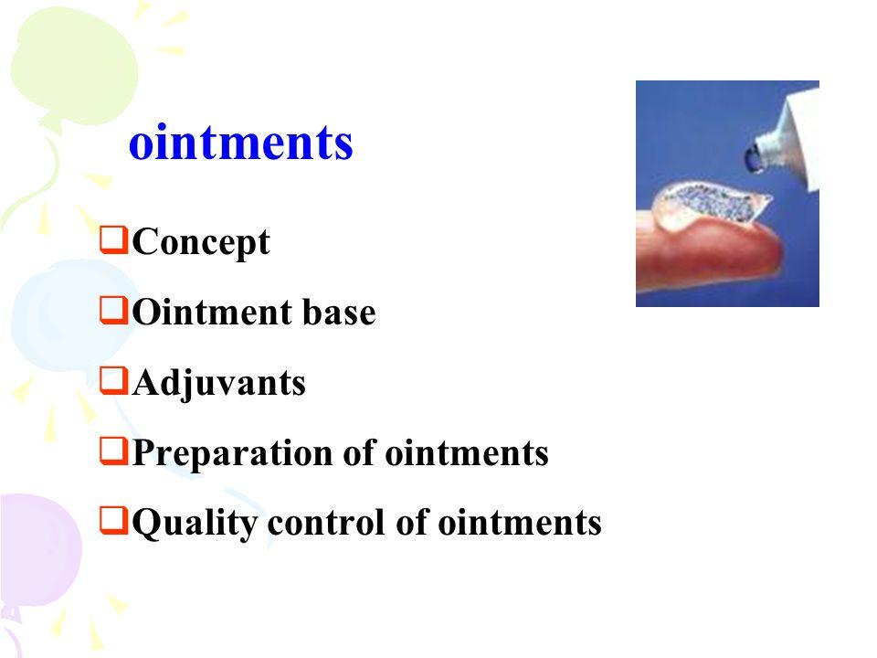 ointments  Concept  Ointment base  Adjuvants  Preparation of ointments  Quality control of ointments