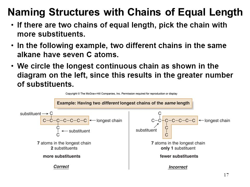 17 If there are two chains of equal length, pick the chain with more substituents. In the following example, two different chains in the same alkane h
