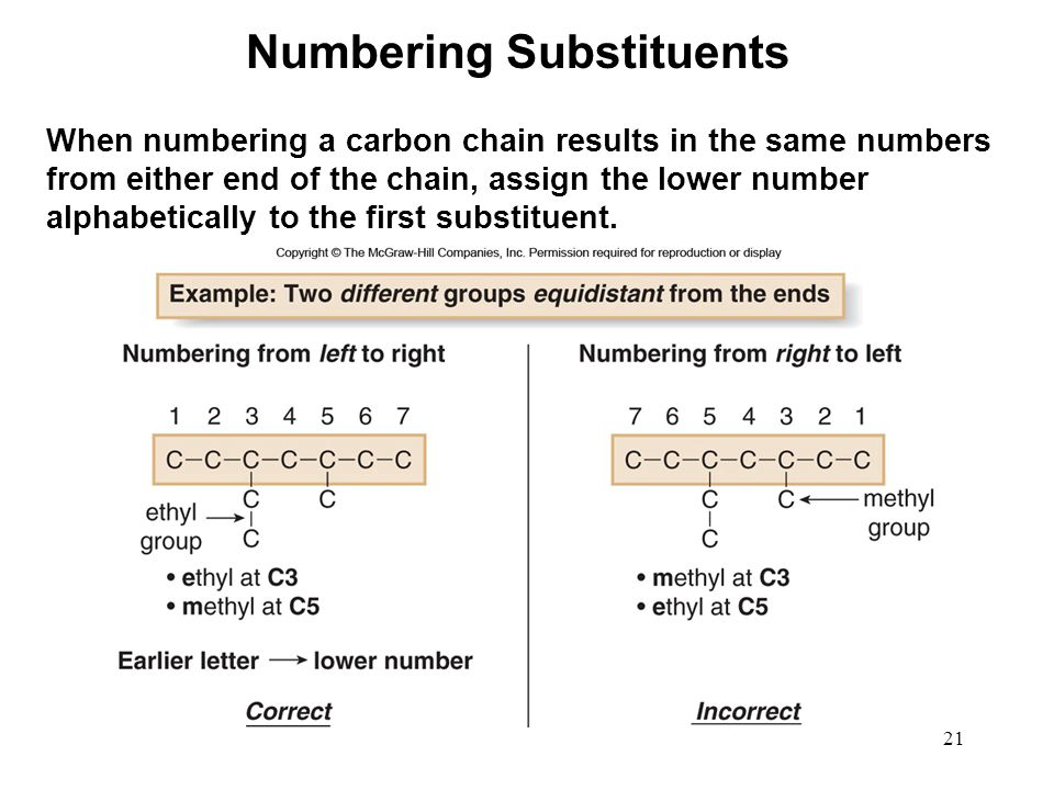 21 When numbering a carbon chain results in the same numbers from either end of the chain, assign the lower number alphabetically to the first substit