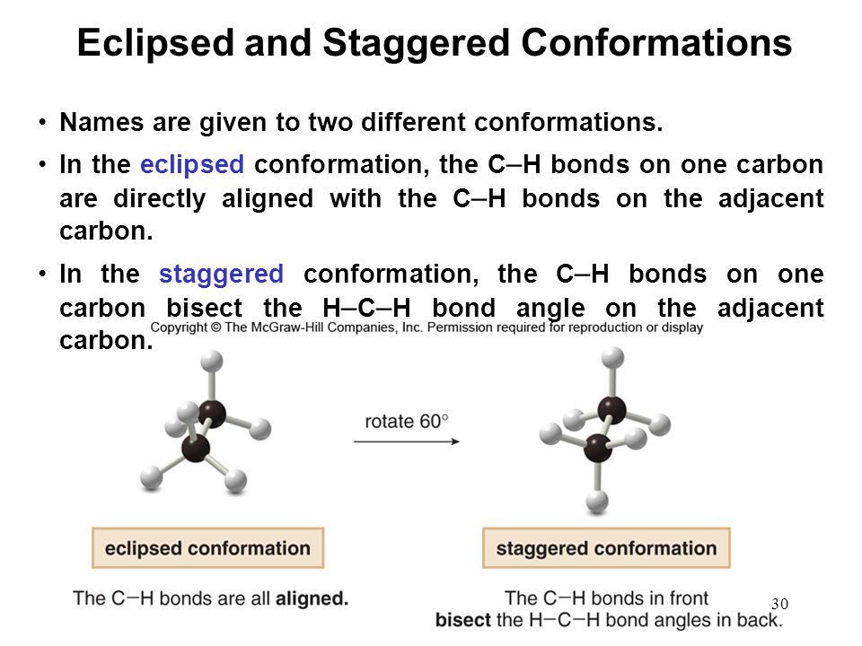 30 Names are given to two different conformations. In the eclipsed conformation, the C – H bonds on one carbon are directly aligned with the C – H bon