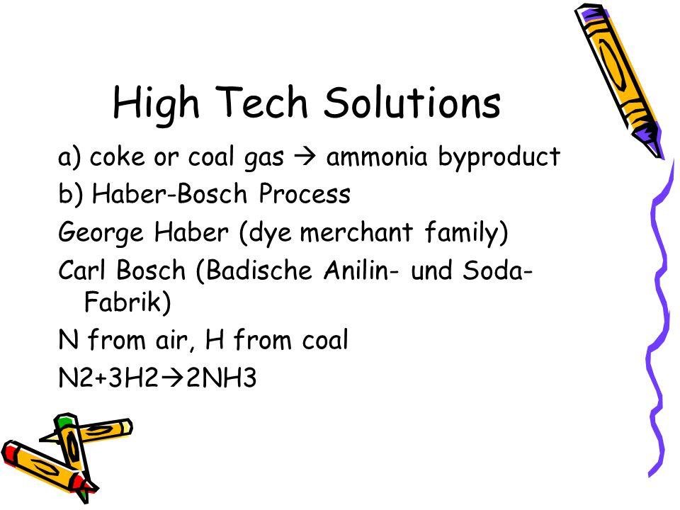 High Tech Solutions a) coke or coal gas  ammonia byproduct b) Haber-Bosch Process George Haber (dye merchant family) Carl Bosch (Badische Anilin- und Soda- Fabrik) N from air, H from coal N2+3H2  2NH3