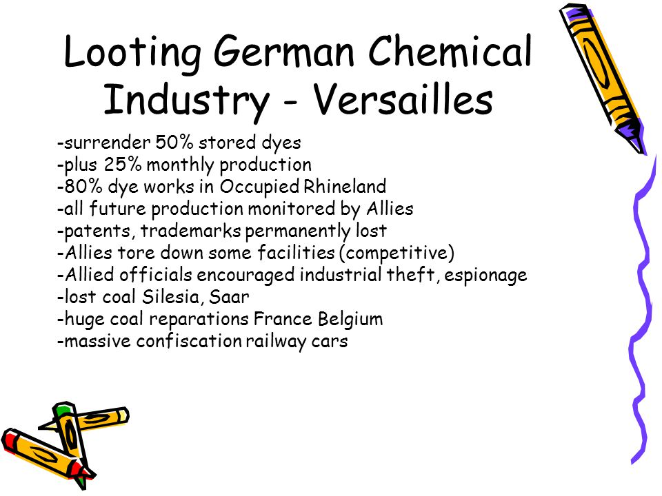 Looting German Chemical Industry - Versailles -surrender 50% stored dyes -plus 25% monthly production -80% dye works in Occupied Rhineland -all future