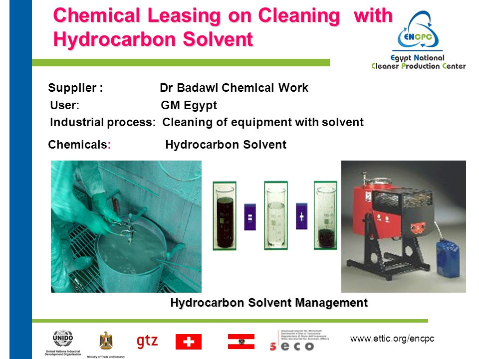 www.ettic.org/encpc Chemical Leasing on Cleaning with Hydrocarbon Solvent Supplier : Dr Badawi Chemical Work User: GM Egypt Industrial process: Cleaning of equipment with solvent Chemicals: Hydrocarbon Solvent Hydrocarbon SolventManagement Hydrocarbon Solvent Management