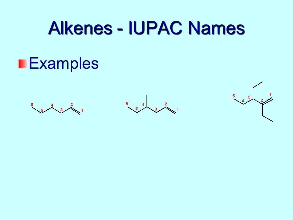 Alkenes - IUPAC Names Examples
