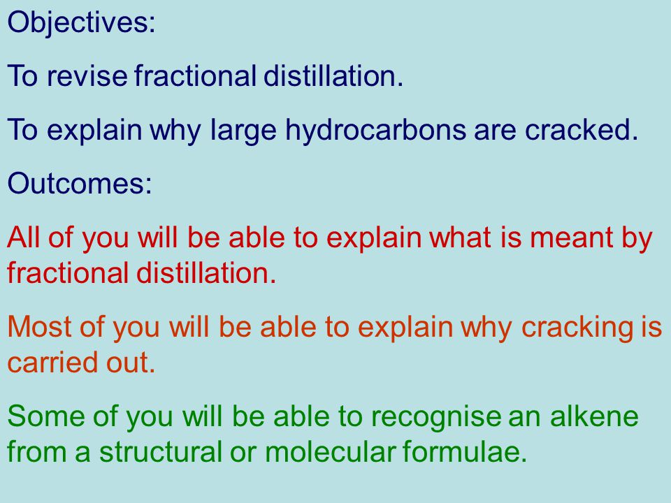 Objectives: To revise fractional distillation. To explain why large hydrocarbons are cracked.