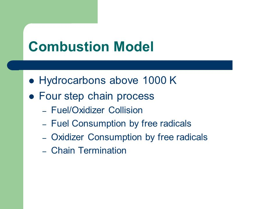 Role of Radicals in Combustion Combustion of hydrocarbons releases energy.