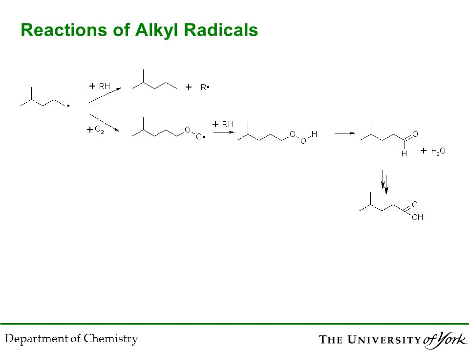 Department of Chemistry Reactions of Alkyl Radicals