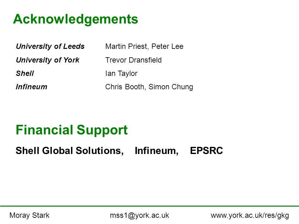 Acknowledgements University of LeedsMartin Priest, Peter Lee University of YorkTrevor Dransfield ShellIan Taylor InfineumChris Booth, Simon Chung Financial Support Shell Global Solutions, Infineum, EPSRC Moray Stark mss1@york.ac.uk www.york.ac.uk/res/gkg