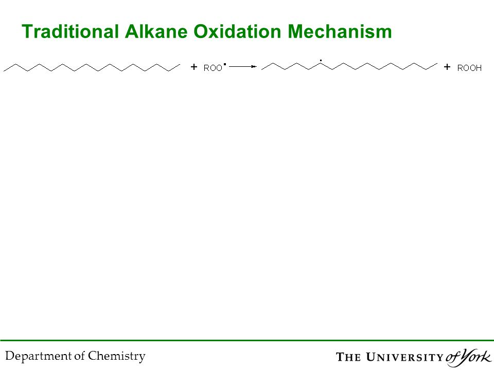 Department of Chemistry Traditional Alkane Oxidation Mechanism