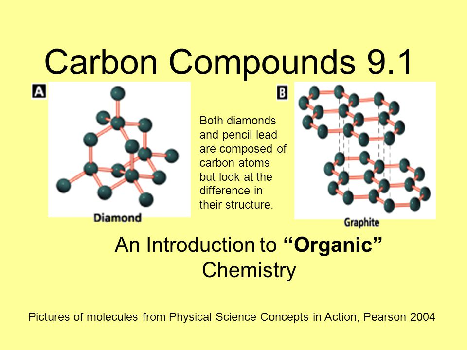 Carbon Compounds 9.1 An Introduction to Organic Chemistry Pictures of molecules from Physical Science Concepts in Action, Pearson 2004 Both diamonds and pencil lead are composed of carbon atoms but look at the difference in their structure.