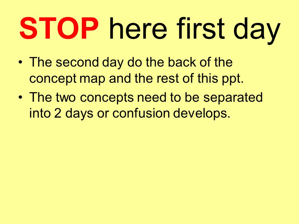 STOP here first day The second day do the back of the concept map and the rest of this ppt.