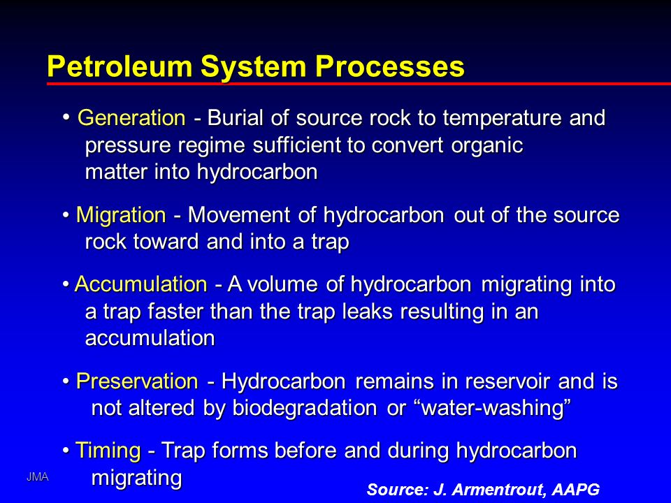 JMA Petroleum System Processes Generation - Burial of source rock to temperature and pressure regime sufficient to convert organic matter into hydroca