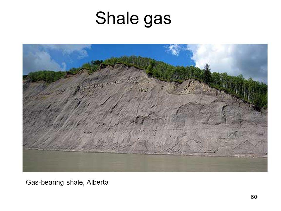 60 Shale gas Gas-bearing shale, Alberta