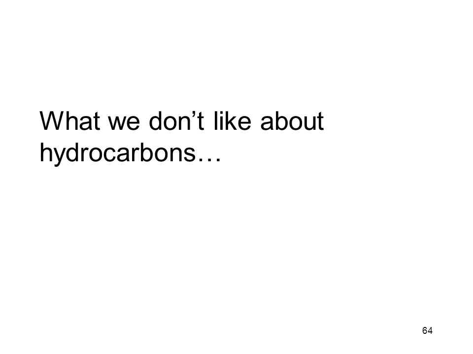 64 What we don't like about hydrocarbons…