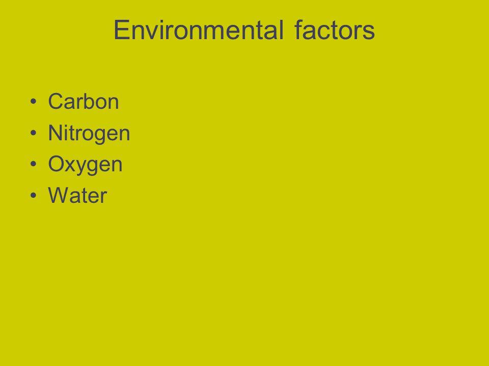 Environmental factors Carbon Nitrogen Oxygen Water