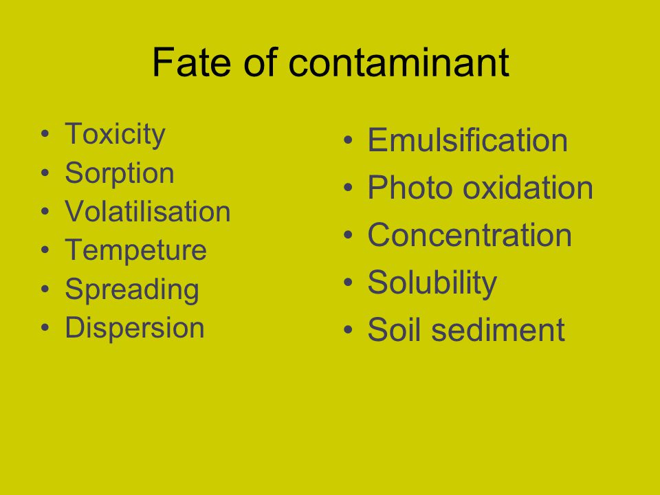 Fate of contaminant Toxicity Sorption Volatilisation Tempeture Spreading Dispersion Emulsification Photo oxidation Concentration Solubility Soil sedim