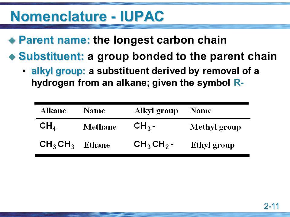 2-11 Nomenclature - IUPAC  Parent name:  Parent name: the longest carbon chain  Substituent:  Substituent: a group bonded to the parent chain alky