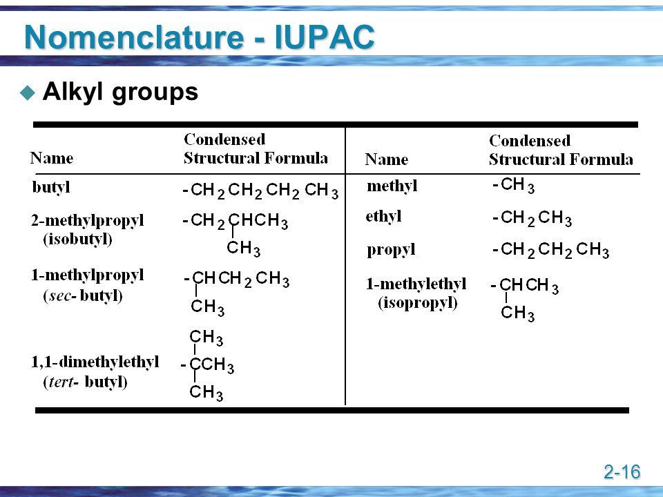 2-16 Nomenclature - IUPAC  Alkyl groups