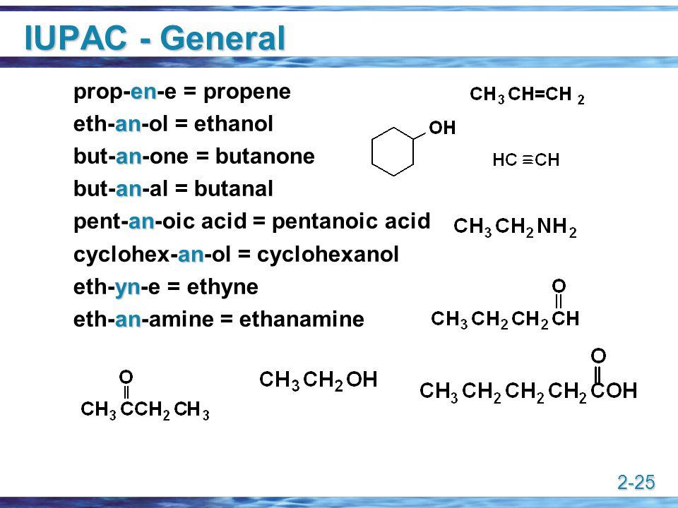 2-25 IUPAC - General en prop-en-e = propene an eth-an-ol = ethanol an but-an-one = butanone an but-an-al = butanal an pent-an-oic acid = pentanoic aci