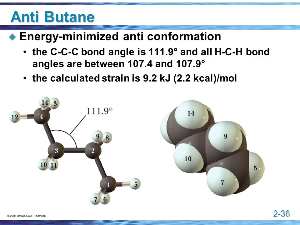 2-36 Anti Butane  Energy-minimized anti conformation the C-C-C bond angle is 111.9° and all H-C-H bond angles are between 107.4 and 107.9° the calcul