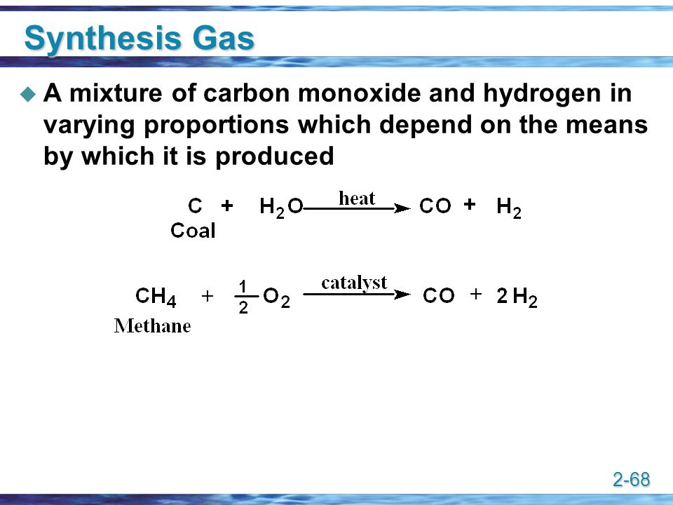 2-68 Synthesis Gas  A mixture of carbon monoxide and hydrogen in varying proportions which depend on the means by which it is produced