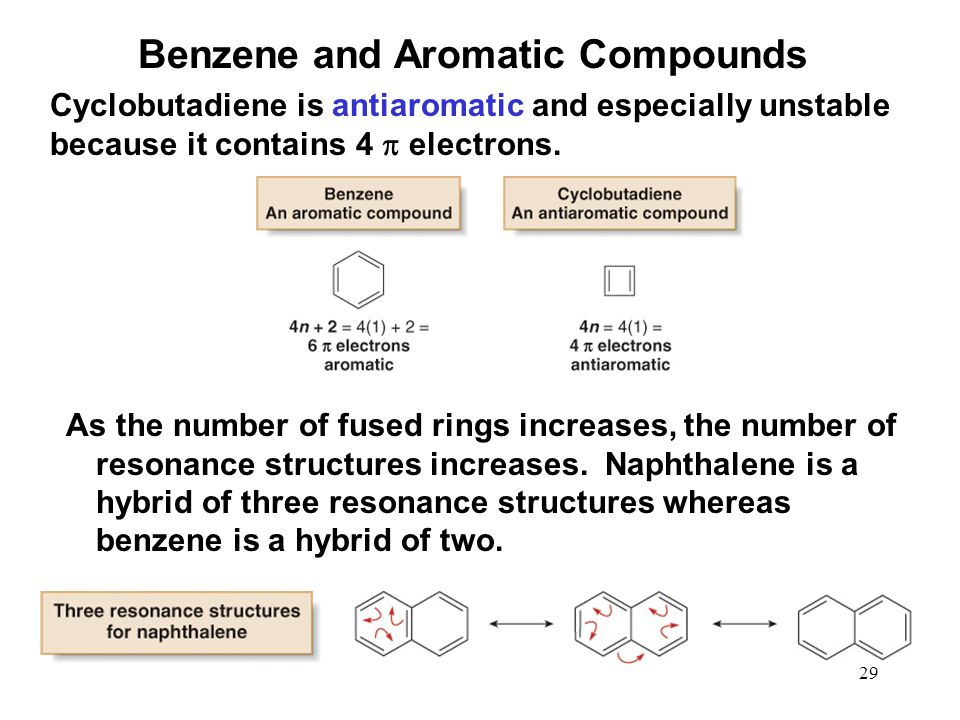 29 Cyclobutadiene is antiaromatic and especially unstable because it contains 4  electrons. Benzene and Aromatic Compounds As the number of fused rin