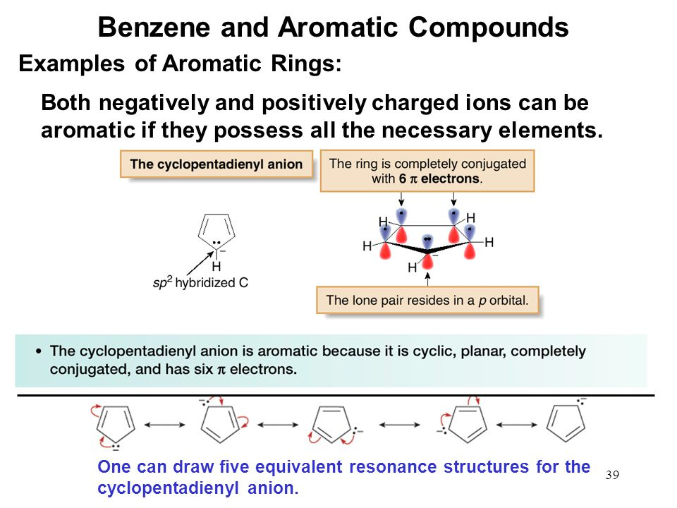 39 Both negatively and positively charged ions can be aromatic if they possess all the necessary elements. One can draw five equivalent resonance stru