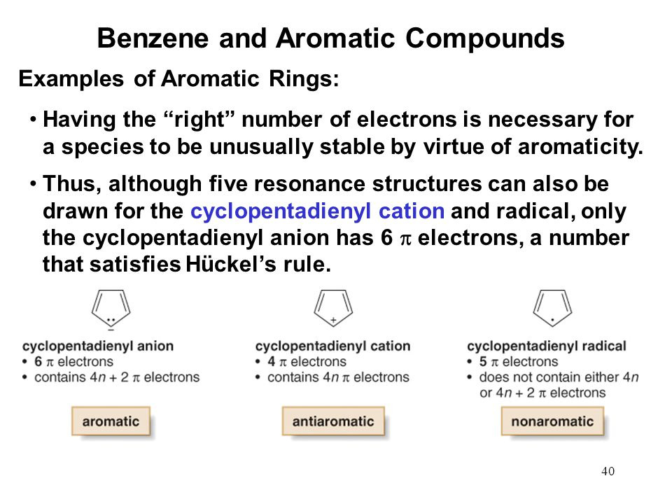 "40 Having the ""right"" number of electrons is necessary for a species to be unusually stable by virtue of aromaticity. Thus, although five resonance st"