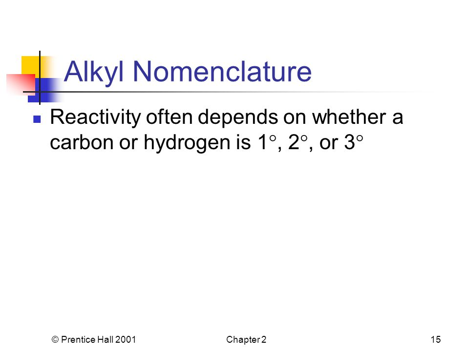 © Prentice Hall 2001Chapter 215 Alkyl Nomenclature Reactivity often depends on whether a carbon or hydrogen is 1 , 2 , or 3 