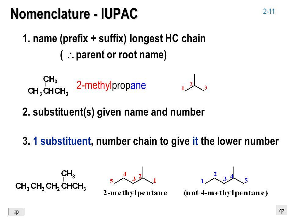 2-11 Nomenclature - IUPAC 1. name (prefix + suffix) longest HC chain (  parent or root name) 2.